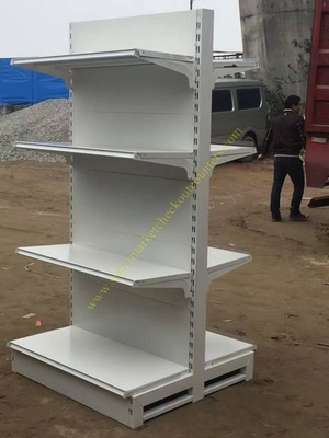 Double Sided Four Tier Supermarket Display Stands / Retail Store Display Shelves