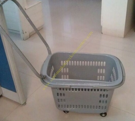 Grey Flip Handles Grocery Basket With Wheels / Stores Small Shopping Trolleys On Wheels