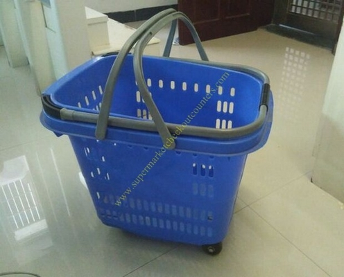 50L Supermarket Plastic Shopping Basket With Wheels , Long Bar Retractable Handle