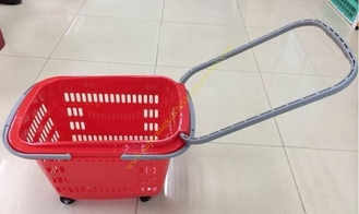 Extensible Draw Bar Shopping Basket With Wheels And Handle , Grocery Basket On Wheels