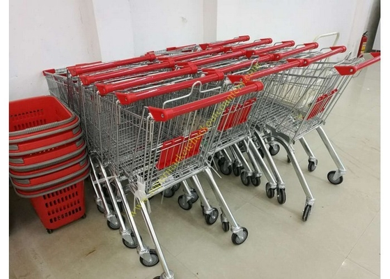Grocery Store Wire Shopping Trolley Metal Retail Carts 60L With Zinc Plated