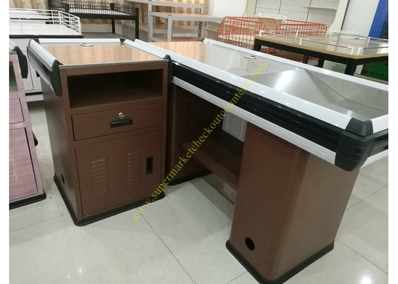 Convenience Supermarket Checkout Counter And Cashier Desk  With Display Shelves