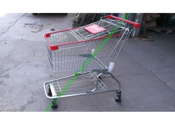 Iron Wire Shopping Cart , Powder Coated Grocery Shopping Trolley With Elevator Wheels