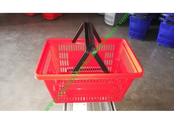 Durable Grocery Store Plastic Hand Shopping Basket Built-in Handles Red