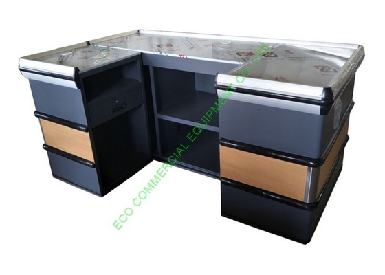 Modern Supermarket Steel Cashier Table / Store Retail Counter Without Belt