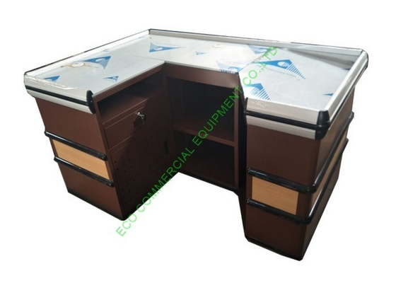 U Shape Supermarket Cash Counter With Stop Bar / Metal Coffee Cashier Desk For Shop