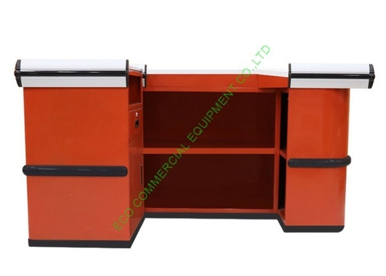 Orange Supermarket Checkout Counter Stand / 1.0mm Cold Rolled Steel Counter Table