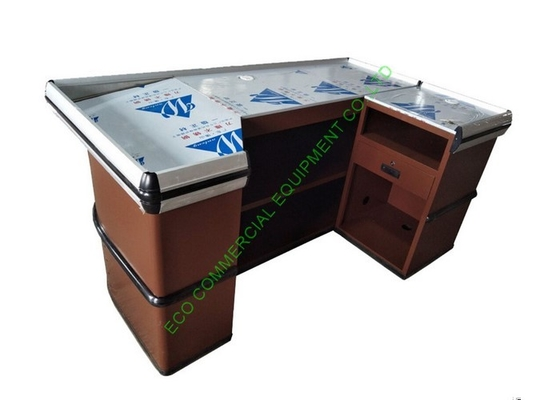 Boutiques Cash Register Checkout Counter / Metallic Cash Wrap Counter For Shop