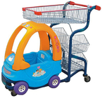 China Commercial Cute Kids Play Shopping Trolley Zinc Plated With Baby Car factory
