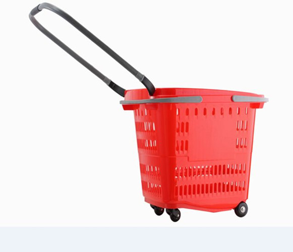 Plastic Red Shopping Basket With Wheels Trolley Grocery Store Carts 50L