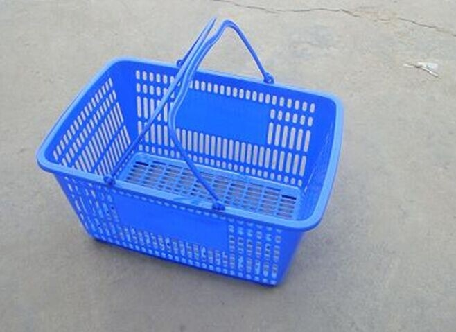 Blue Supermarket Plastic Basket With Handle Two Handles Logo Print