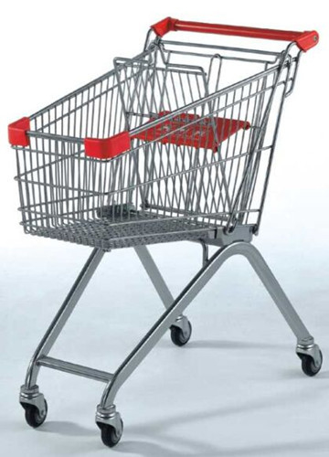 Red Grocery store Wire Shopping Trolley Metal Retail Carts 70L Printed Logo