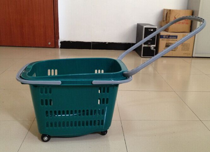 36L Shopping Basket With Wheels Grocery Hand Cart 540×380×380 mm