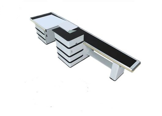 Polished 9 Feet Cash Register Table Counter Conveyor Belt Grocery Store With Aluminum Alloy Edge