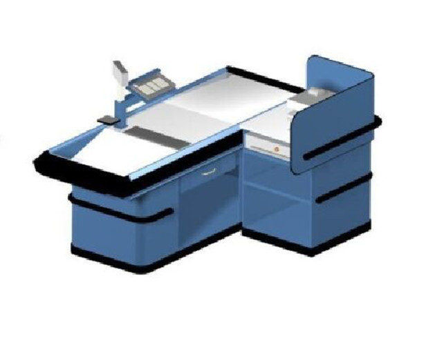Beveled Checkout Counters For Retail Stores Cargo Space Hypermarket Cash Register Table