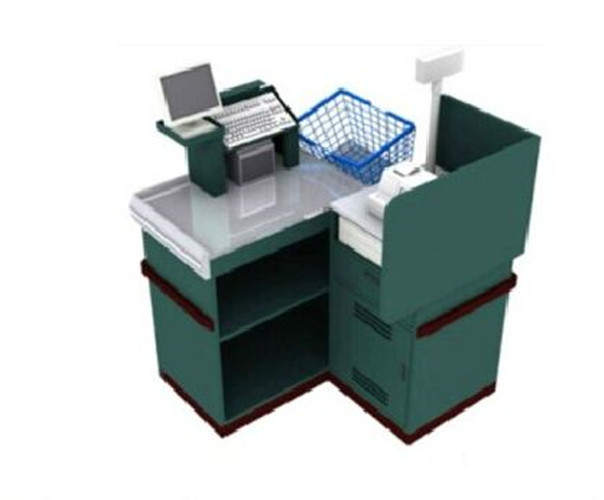 Metal Fast Retail Store Checkout Countersr With Shopping Basket Place