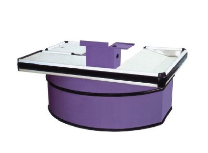 Supermarket Cashier Counter Table Curved Shape 6´ Colourful Checkout Desk