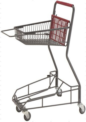 Gray Metal 2 - Tier Supermarket Basket Shopping Trolley Anti - Collision With 4 PU wheels