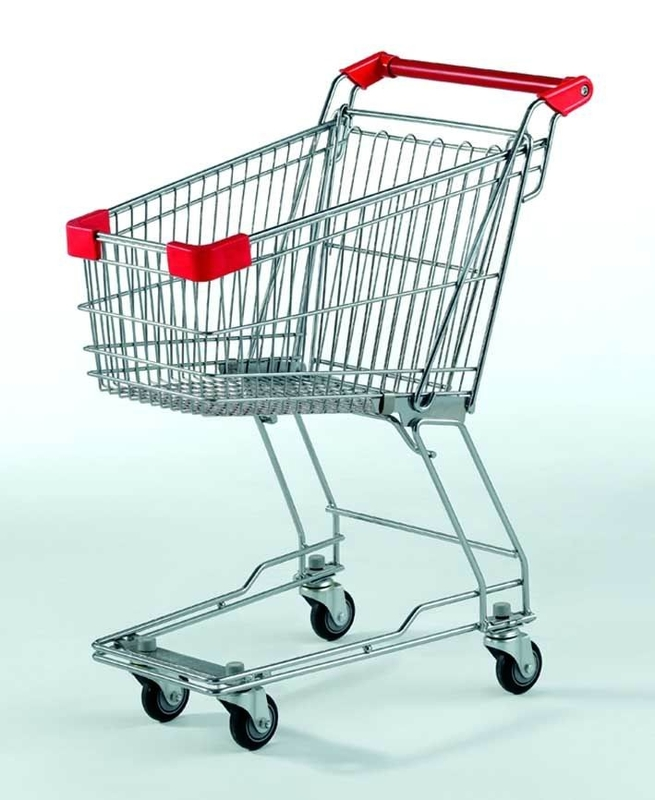 Small Supermarket Shopping Cart  60L Metal Wire Basket Trolley With Wheels