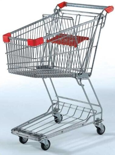 Unfolding Metal Wire Supermarket Shopping Cart  , Asia Style 4 Wheeled Shopping Trolley