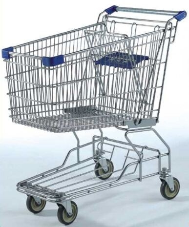Large Capacity Grocery Shopping Carts , 180L Wire 4 Wheeled Shopping Trolley