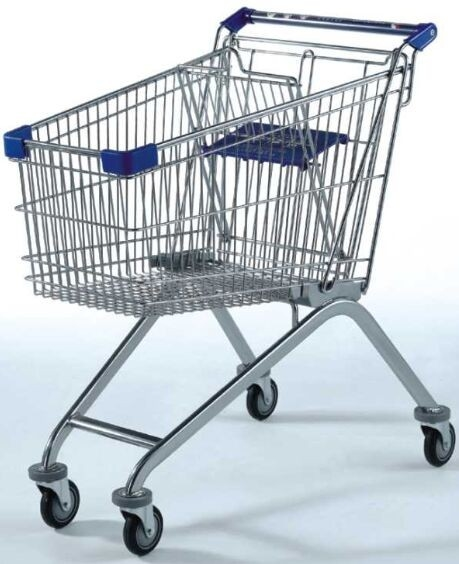 120KG Capacity Supermarket Wire Shopping Trolley , Grocery 4 Wheel Shopping Trolley
