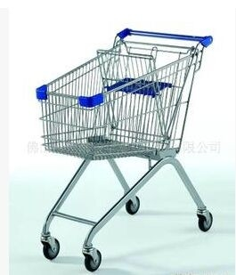 Wire Metal Supermarket Shopping Trolley Cart / Zinc Plated wheeled shopping trolley