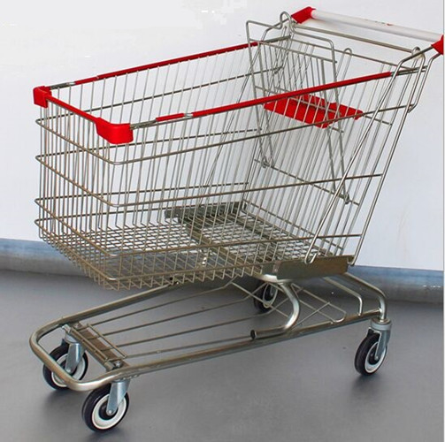 Steel Grocery Carts On Wheels American Style Chromed Metal Shopping Baskets