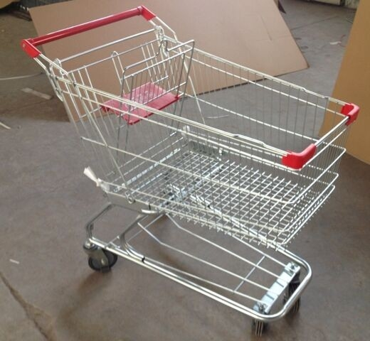 Grocery Shopping Trolley Wire Basket Cart Zinc Coated Elevator Wheels With Seat