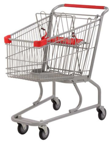 Silver Grocery Shopping Trolley / Metal Supermarket Shopping Cart 100Kgs