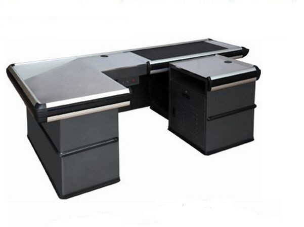 Electronic Gray Store Conveyor Belt Checkout Counter