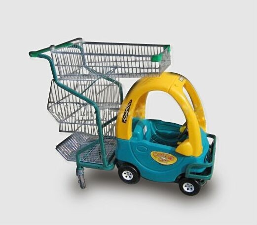Children Metal Kids Shopping Carts Supermarket  Plastic Push Trolley With Toy Car
