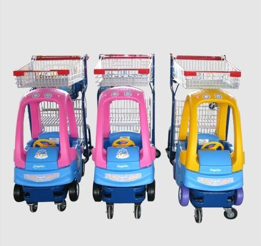Supermarket Plastic Kids Shopping Trolley Zinc Plated Metal Shopping Cart