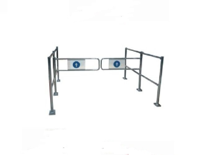 ISO9002 Silver Pedestrian Swing Security Gate For Shopping Mall
