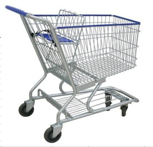 4 Wheels Metal Shopping Trolley Movable Unfolding Hand Wire Grocery Cart