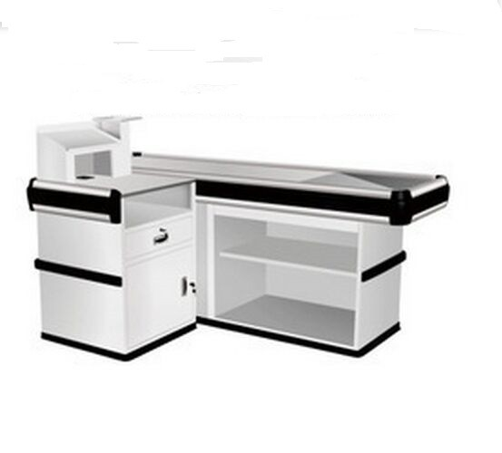 Multi - functional Supermarket Check Out Counter Steel Cashier Desk