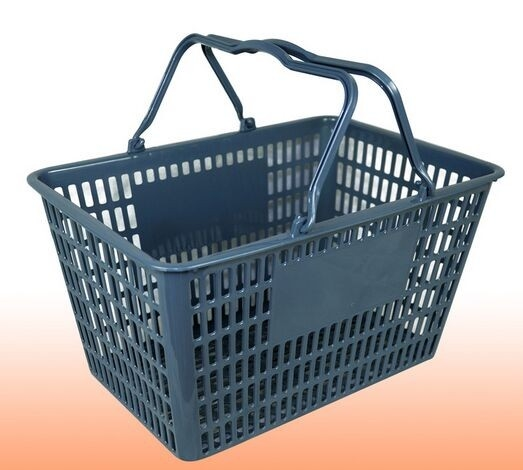 Grey Waterproof Supermarket Plastic Shopping Basket With Handles