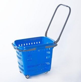PP Rolling Folding Cart With Wheels Collapsible Plastic Hand Baskets