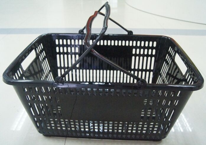 PE Store Hand Shopping Basket , Plastic Vegetable Storage Basket 32 Litres