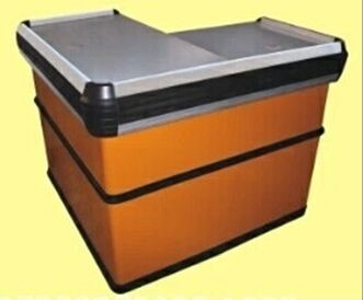 Steel Orange Express Checkout Counter / Polished Surface Store Cashier Desk