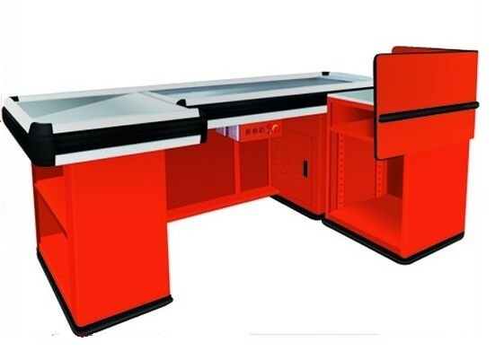 Supermarket Checkout Counters With Transport Tape , Custom Stainless Steel Countertops