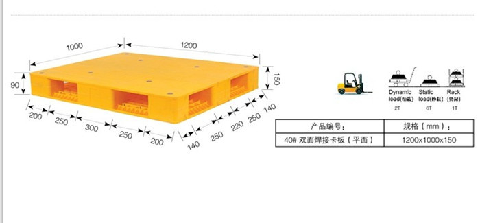 Logistic Double Side Heavy Duty Plastic Pallets Rack Parts With 6 T Pallet Rack Capacity 1200 * 1000 * 150 mm