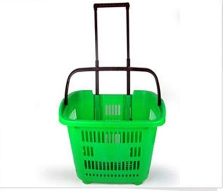 Commercial Plastic Basket On Wheels With Handle , Supermarket Baskets And Trolleys