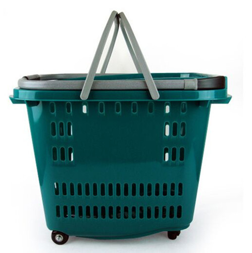 Retail Supermarket Shopping Basket With Wheels , Collapsible Shopping Basket