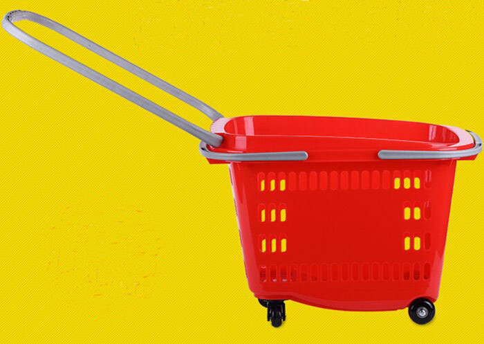Waterproof Plastic Wheeled Shopping Basket For Supermarket / Store / Home