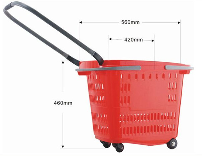 Supermarket Plastic Shopping Baskets With Handles , Shopping Baskets On Wheels