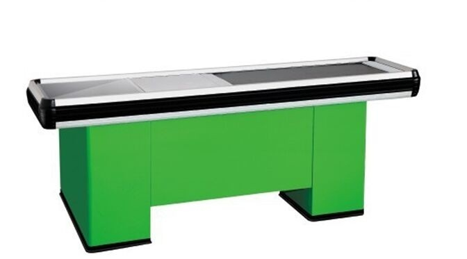 Supermarket Conveyor Belt Checkout Counter With Powder Coating Surface Treatment