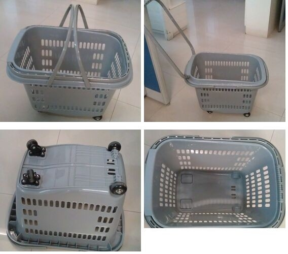 Large Rolling Plastic Wheeled Shopping Basket With Wheels and Handles SGS /  ISO9002