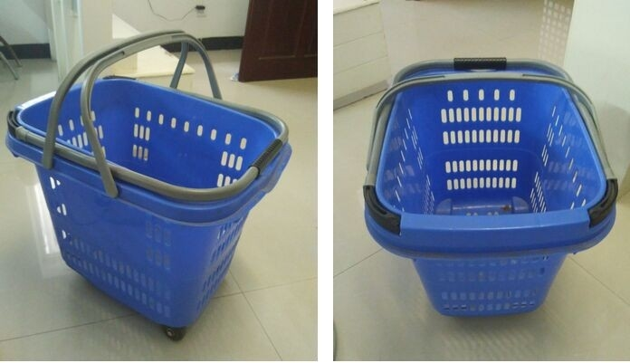 Blue Large Capacity Shopping Basket With Wheels , Aluminum Handle Trolley Basket