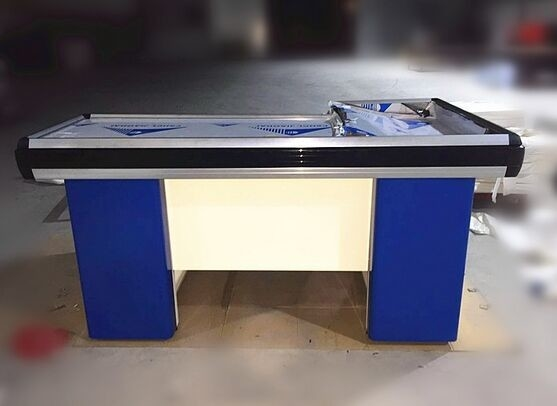 Metal Steel Supermarket  Checkout Counter Cashier Table With Conveyor Belt